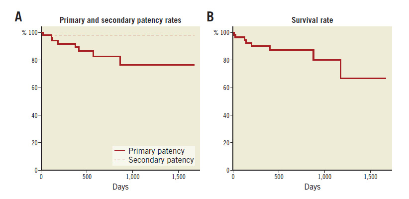 Figure 2. Kaplan-Meier life-table analysis of primary and secondary patency rates. A) After EVT. B) Survival rate.